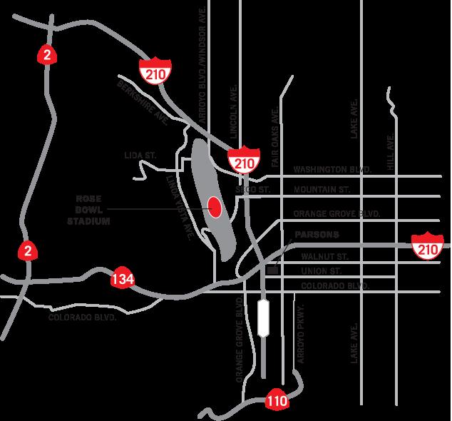 Tournament of Roses - Rose Bowl Game - FREEWAY MAP